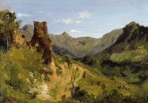 Valley in the Auvergne Mountains, 1830 (Oil on Paper Mounted on Canvas) by Theodore Rousseau