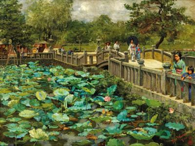 Lotus Pond, Shiba, Tokyo, c.1886 by Theodore Wores