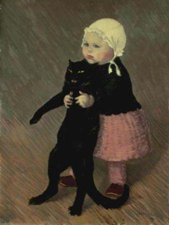 A Small Girl with a Cat, 1889 by Théophile Alexandre Steinlen
