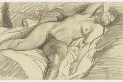 Etude de femme nue, couchée sur un lit cachant le visage de sa main droite
