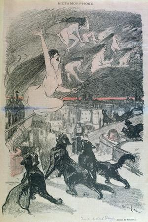 Metamorphosis - Black Cats Transforming Themselves into Witches, Late 19th Century (Colour Litho)