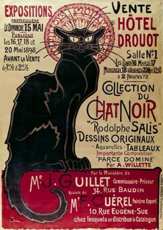 Poster Advertising an Exhibition of the Collection Du Chat Noir Cabaret at the Hotel Drouot, Paris by Théophile Alexandre Steinlen