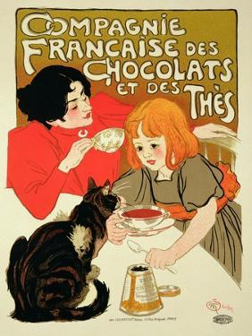 Reproduction of a Poster Advertising the French Company of Chocolate and Tea by Théophile Alexandre Steinlen