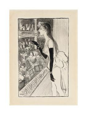 Yvette Gilbert at the Theatre, (Brush and Black Ink, Charcoal and Black Crayon on Paper) by Theophile Alexandre Steinlen