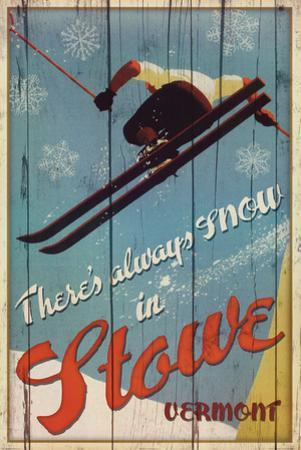 There's Always Snow in Stowe Vermont Ski Art Print Poster
