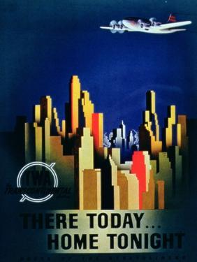 There Today, Home Tonight', Advertisement for Twa, the Transcontinental Airlines
