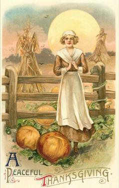 Thin Farm Lady with Wheat and Pumpkins