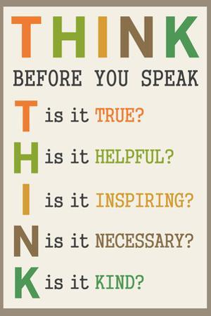 Think Before You Speak Educational Plastic Sign