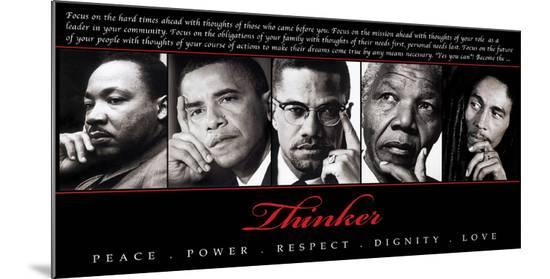 Thinker (Quintet): Peace, Power, Respect, Dignity, Love--Mounted Print