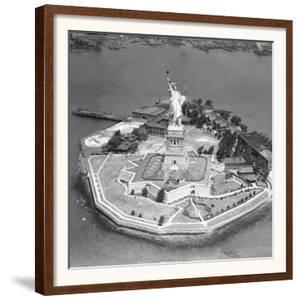 This Aerial View Shows the Statue of Liberty on Liberty Island