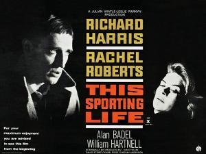 THIS SPORTING LIFE, US lobbycard, from left: Richard Harris, Rachel Roberts, 1963.