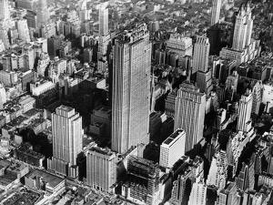 This View Shows the Western Front Along Sixth Avenue of the Nearly Completed Rockefeller Center