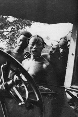 Native Men Seeing a White Woman for the First Time, Mongalla to Terrakekka, Sudan, 1925 by Thomas A Glover