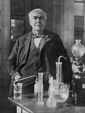 Thomas Alva Edison American Inventor on His 77th Birthday in His West Orange Laboratory