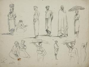 Butterworth: Group of Sketches of African Men and Women, 1851 by Thomas Baines