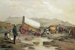 T662 Klaass Smit's River, with a Broken Down Wagon, Crossing the Drift, South Africa, 1852 by Thomas Baines