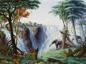 The Mosi-O-A-Tunya (Smoke Resounding) or Victoria Falls, Zambesi River, 1874 by Thomas Baines
