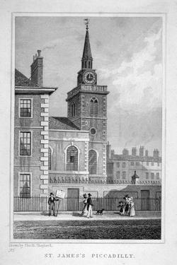 View of the North-Western End of St James's Church, Piccadilly, London, C1827 by Thomas Barber