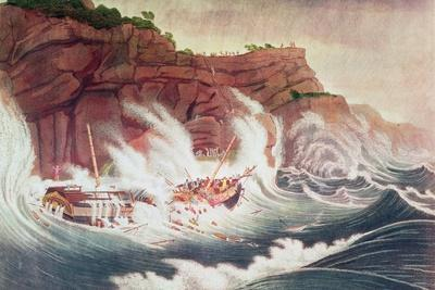 Loss of the Packet Ship Albion, Engraved by C. Tiebout