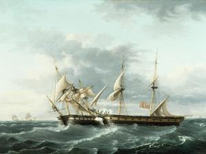 Naval Engagement Between Uss Wasp and Hms Frolic, C.1815 by Thomas Birch