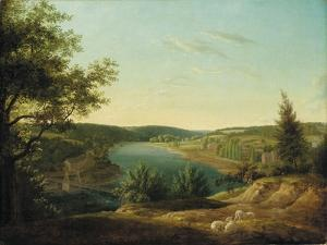 View of the Chain Bridge and Falls of the Schuylkill, Five Miles from Philadelphia by Thomas Birch