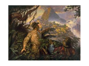 A Painting Depicting Hiram Bingham's Discovery of Machu Picchu, Peru in 1911 by Thomas Blackshear