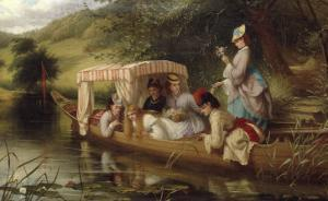 Reflections, 1873 (Ladies in a boat) by Thomas Brooks