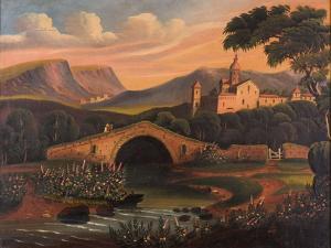 Italian Scene with Bridge, 1840-1860 by Thomas Chambers
