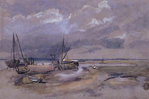 Coastal Landscape with Beached Fishing Boats, 1820 by Thomas Churchyard