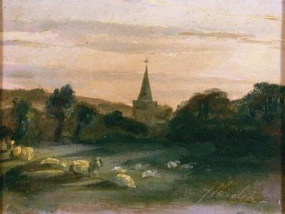 Stoke Poges Church (Oil on Panel) (Recto of 261372) by Thomas Churchyard