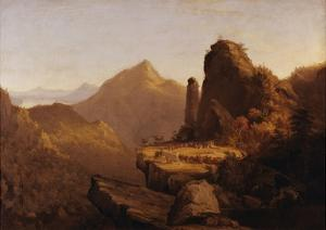 "Scene from ""The Last of the Mohicans"" (Cora Kneeling at the Feet of Tamenund) by Thomas Cole"