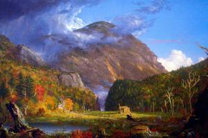 Thomas Cole A View of the Mountain Pass Called the Notch of the White Mountans Plastic Sign by Thomas Cole
