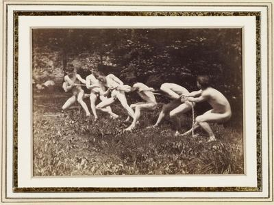 Male Nudes in Standing Tug of War, Outdoors, C.1883