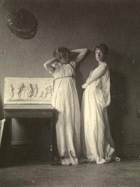 Two Female Models in Classical Costume with Eakins's Sculpture 'Arcadia', c.1883 by Thomas Cowperthwait Eakins