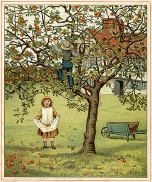Girl Picks Fruit 1881 by Thomas Crane