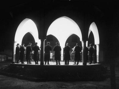 Band Seen Through Triple Archway as it Plays Dinner Music for Bey of Tunis at Palace
