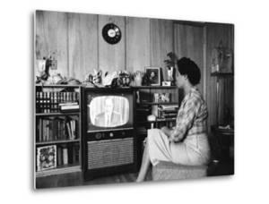 Civil Rights Leader Daisy Bates Watching Televised Desegregation Speech by Governor Faubaus by Thomas D. Mcavoy