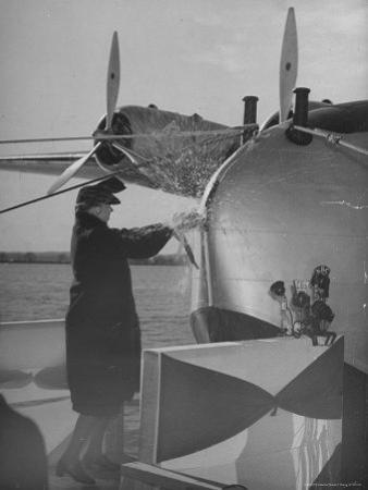 """First Lady Eleanor Roosevelt on the Hull of Pan American's New Flying Boat the """"Yankee Clipper"""""""