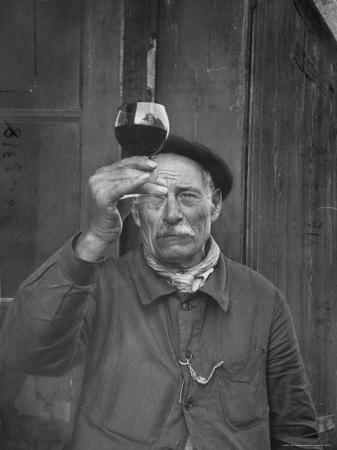 French Vintner Showing the Proper Wine Tasting Technique
