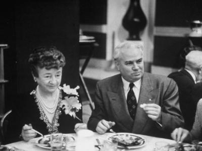 John with Bricker and His Wife During the Republian Dinner Meeting by Thomas D. Mcavoy