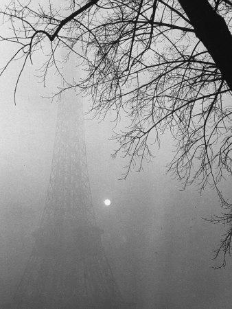 Paris Fog with Eiffel Tower Faintly Seen