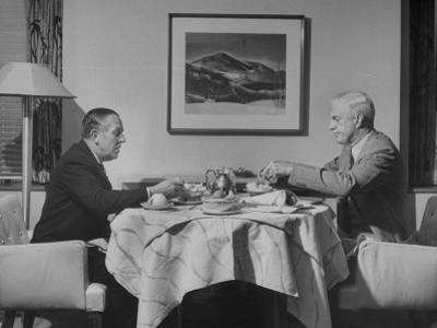 Paul G. Hoffman Having Lunch with William L. Clayton