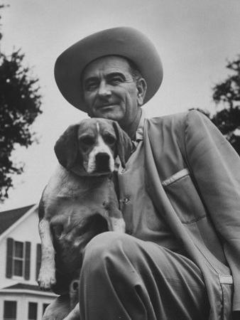 Senator Lyndon B. Johnson with Pet Called Little Beagle Jr. on His Ranch by Thomas D. Mcavoy