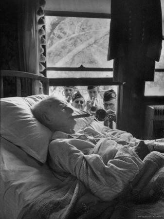 Serenaded by Horston American Legion Oldest Civil War Veteran Walter Williams in Bed with Cigar