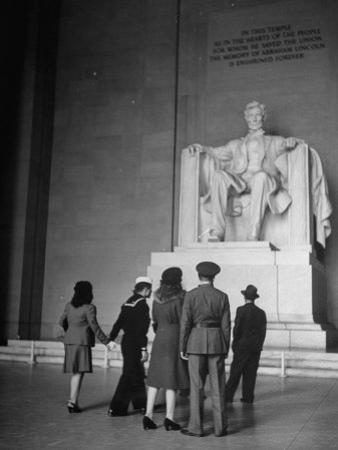 Tourists Visiting Lincoln Memorial by Thomas D. Mcavoy