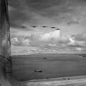 US Army War Planes Flying over the Panama Canal Zone by Thomas D. Mcavoy