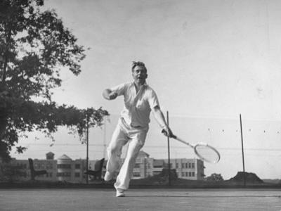Vice Presidential Candidate Henry A. Wallace, Playing a Game of Tennis