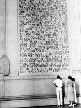 Visitors Reading the Inscription of Pres. Abraham Lincoln's Gettysburg Address, Lincoln Memorial by Thomas D. Mcavoy