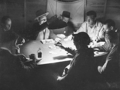 Workers on the Fort Blanding Site Playing a Game of Poker
