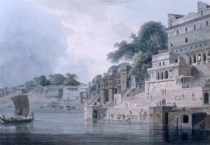 Dasasvamedha Ghat, Benares, Uttar Pradesh, C.1788-89 (Coloured Aquatint) by Thomas Daniell